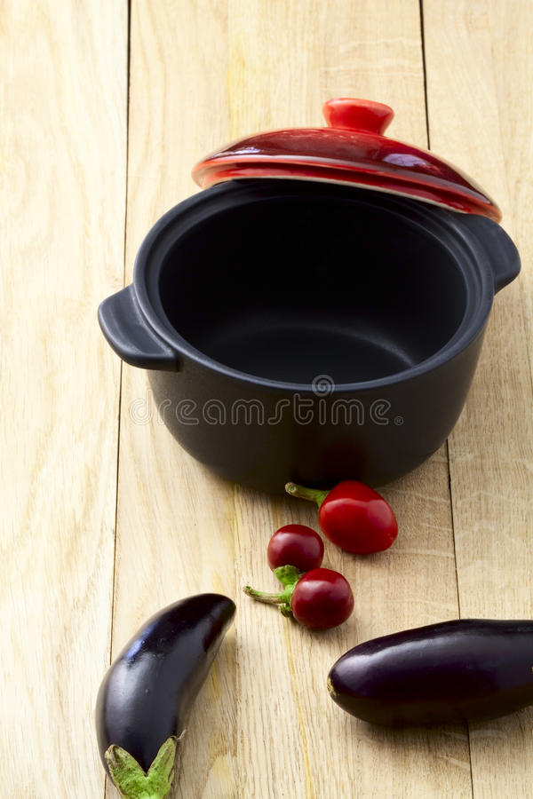 Eggplant pepper and pan royalty free stock photo