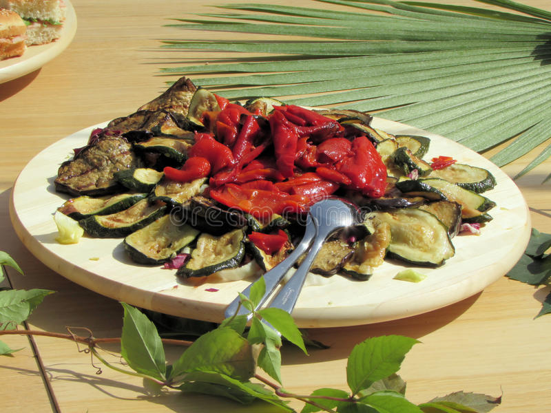Eggplant, peppers and tomatoes royalty free stock photo
