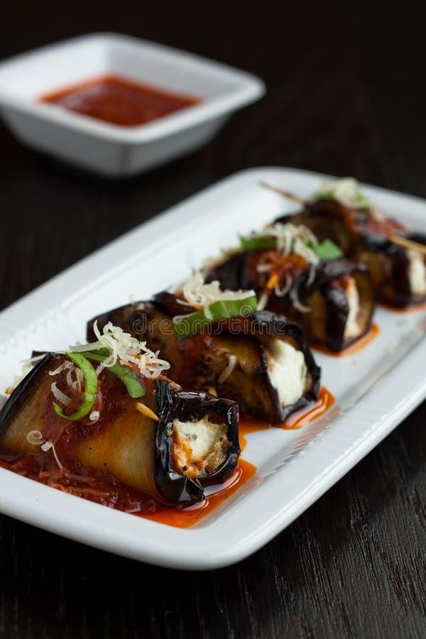 Eggplant rolls royalty free stock photography
