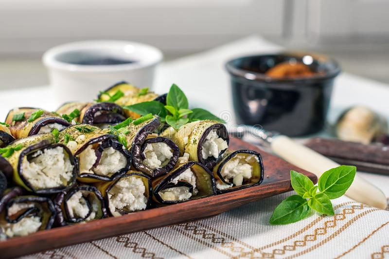 Eggplant rolls. stock photos