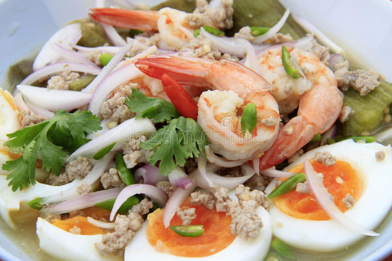 Eggplant salad whit eggs and shrimps, Thai-food. royalty free stock image