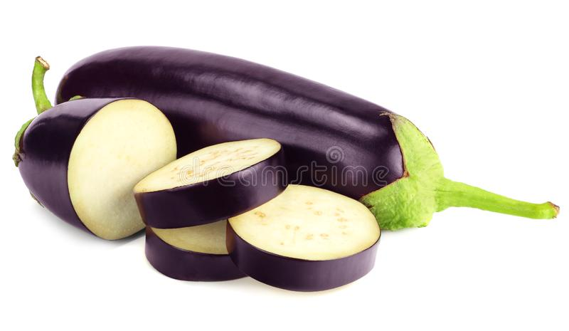 Eggplant with slices isolated on white background. healthy food stock photo