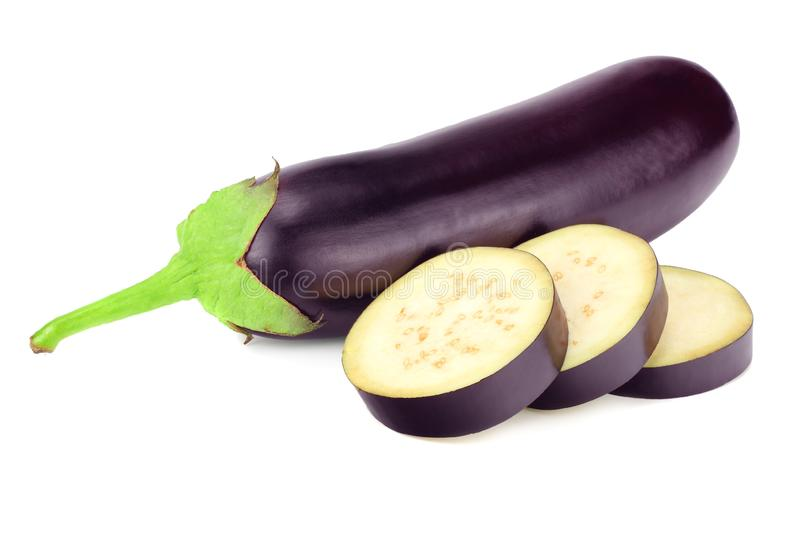 Eggplant with slices isolated on white background. healthy food royalty free stock image