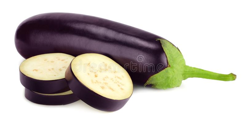 Eggplant with slices isolated on white background. healthy food stock image