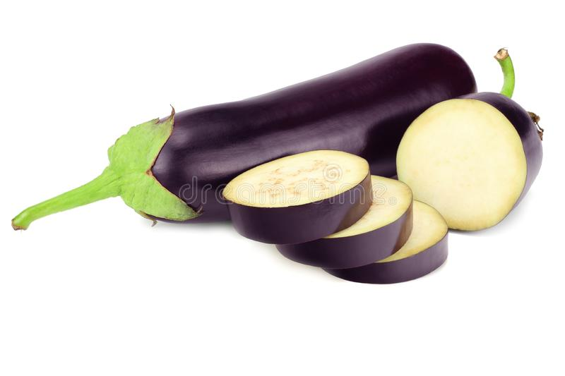 eggplant with slices isolated on white background. healthy food stock photography