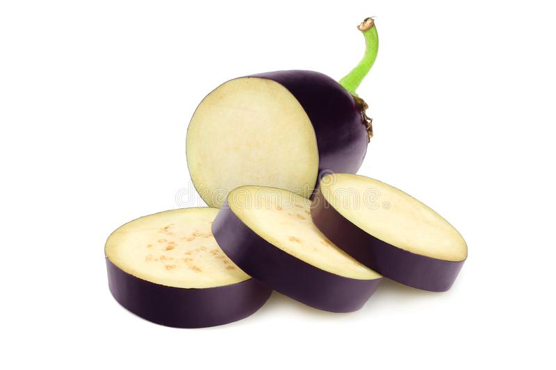 eggplant with slices isolated on white background. healthy food royalty free stock photo