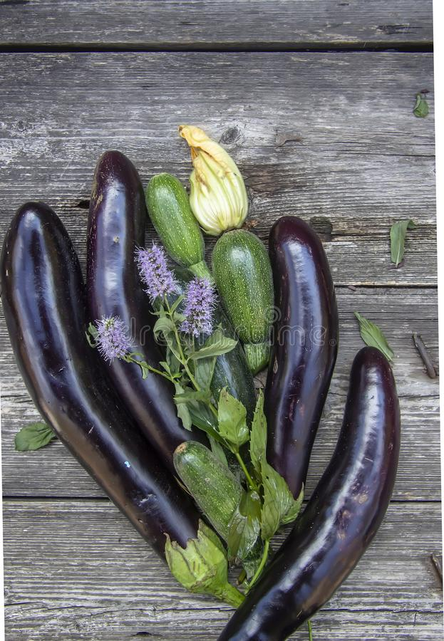 Eggplant and zucchini still life on a wooden table royalty free stock images