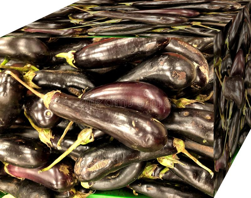 Eggplants. For sale in the market. Natural fruits, natural vitamins. Eggplants.. For sale in the market. Natural fruits, natural vitamins. Cubic form. 3D and stock photos