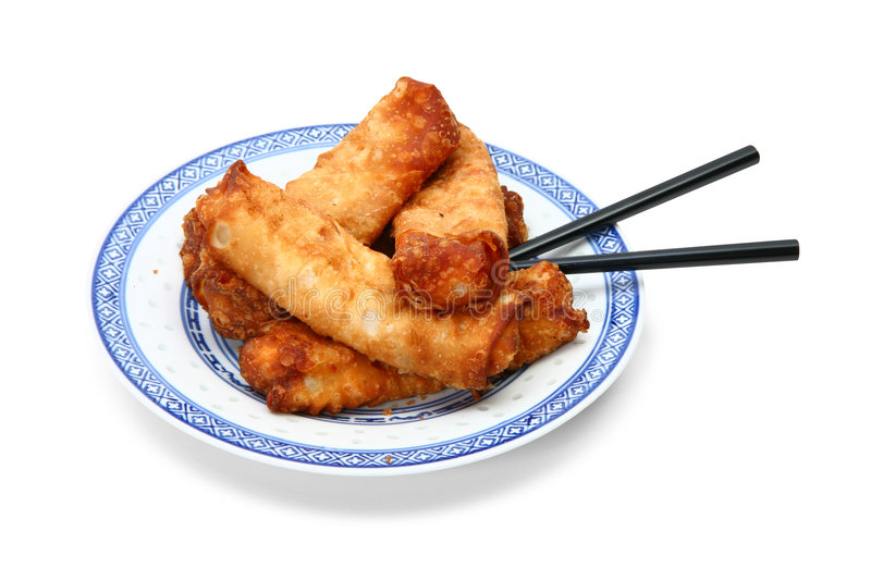 Eggrolls on Plate with Clipping Path royalty free stock image
