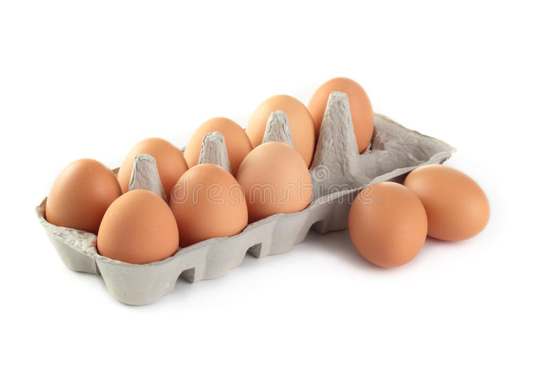 Eggs. A carton of fresh freerange eggs on a white background royalty free stock images