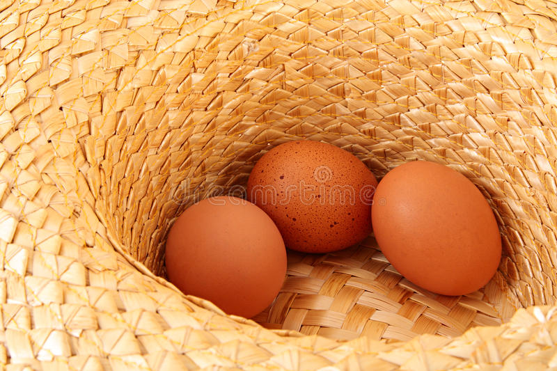 Eggs. Chicken eggs in strawy hat royalty free stock photos