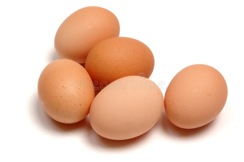 Eggs. Five eggs, isolated on a white background