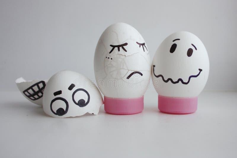 Eggs alegre con un concepto de la cara dos estrellado imagen de archivo libre de regalías