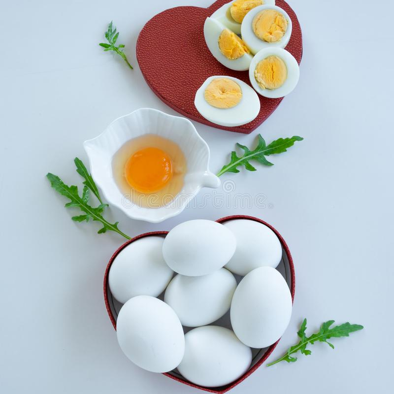 Eggs background. Healthy eating concept. Energy ingredients stock photography