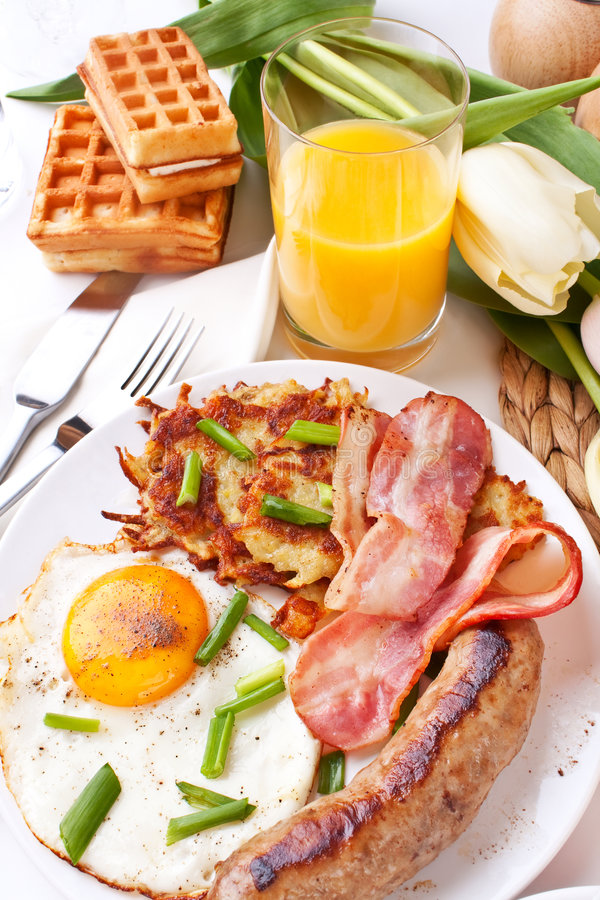 Eggs and bacon breakfast stock photos