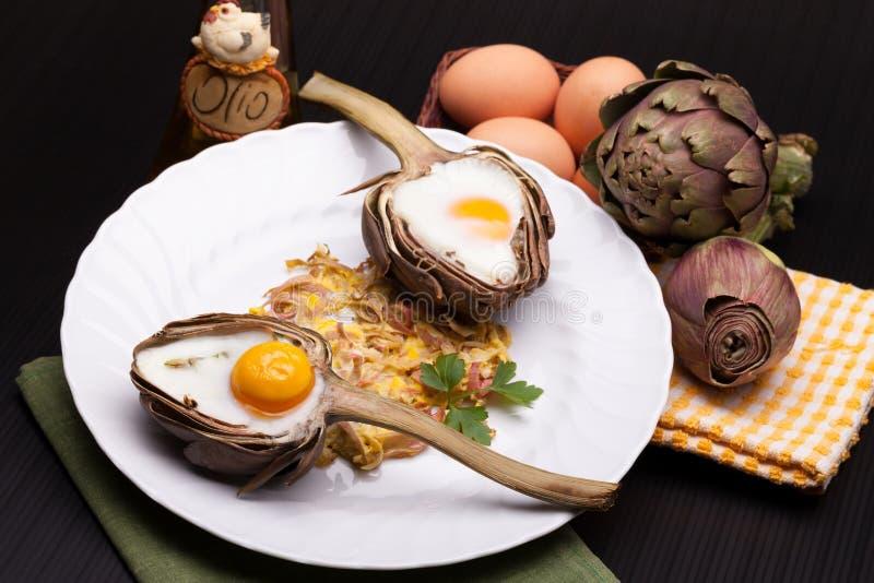 Eggs Baked In Artichoke royalty free stock image