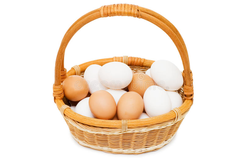 Eggs in a basket. On a white background royalty free stock images