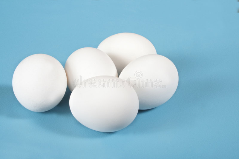 Eggs on blue stock images