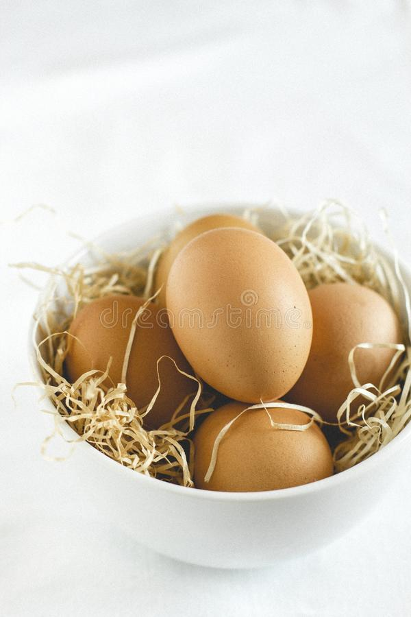 Eggs in a bowl royalty free stock photo