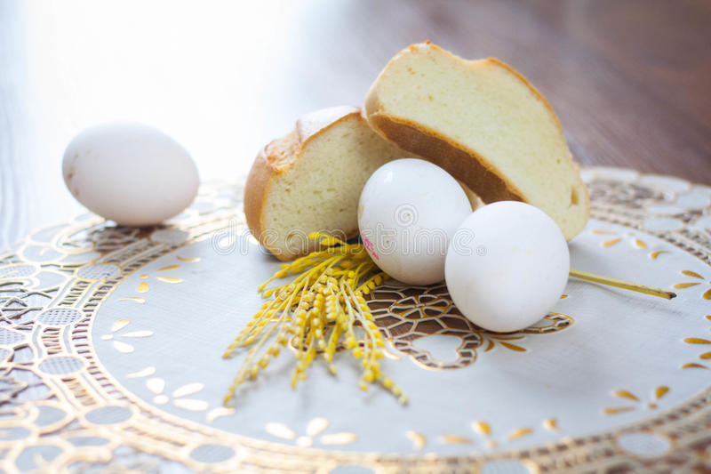 Eggs and bread royalty free stock photos