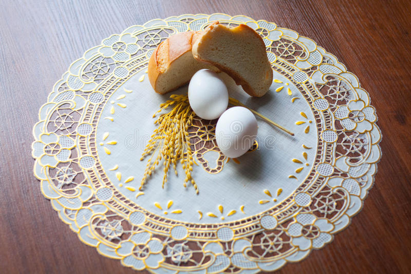 Eggs and bread stock photo