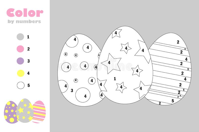 Eggs in cartoon style, color by number, easter education paper game for the development of children, coloring page, kids preschool vector illustration