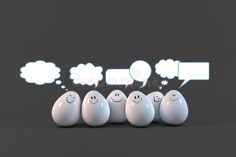 Eggs comunication. Eggs social chat communicating each other stock illustration
