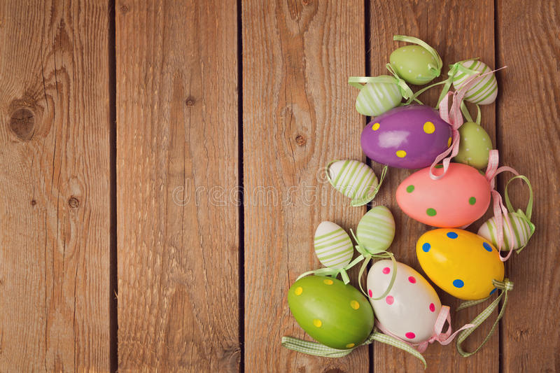 Eggs decorations for easter holiday celebration. On a table royalty free stock photography