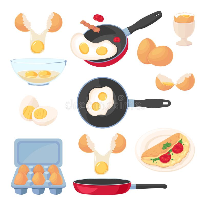 Eggs design elements set, isolated on white background. Vector breakfast meal, raw ingredients and cooking process royalty free illustration