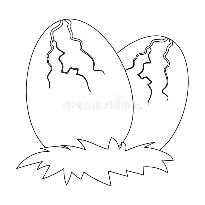 Eggs Of Dinosaur Icon In Outline Style Isolated On White