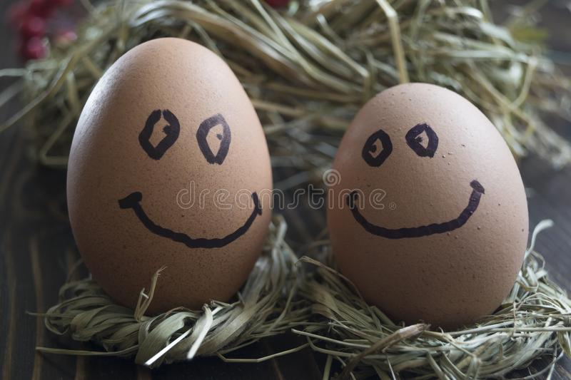 Eggs with drawn funny faces on straw. Close up of eggs with drawn funny faces on straw royalty free stock photography