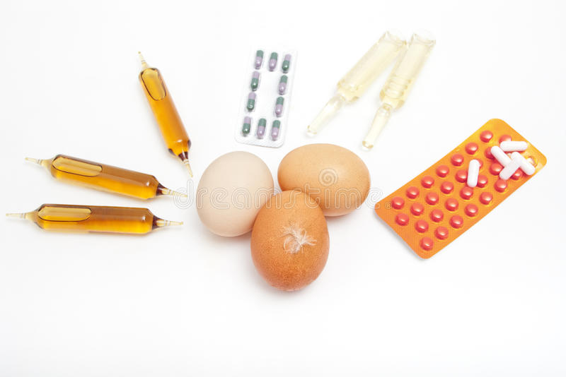 Eggs and drugs royalty free stock photos