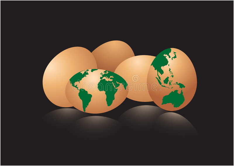 Eggs With Earth Map Stock Photography
