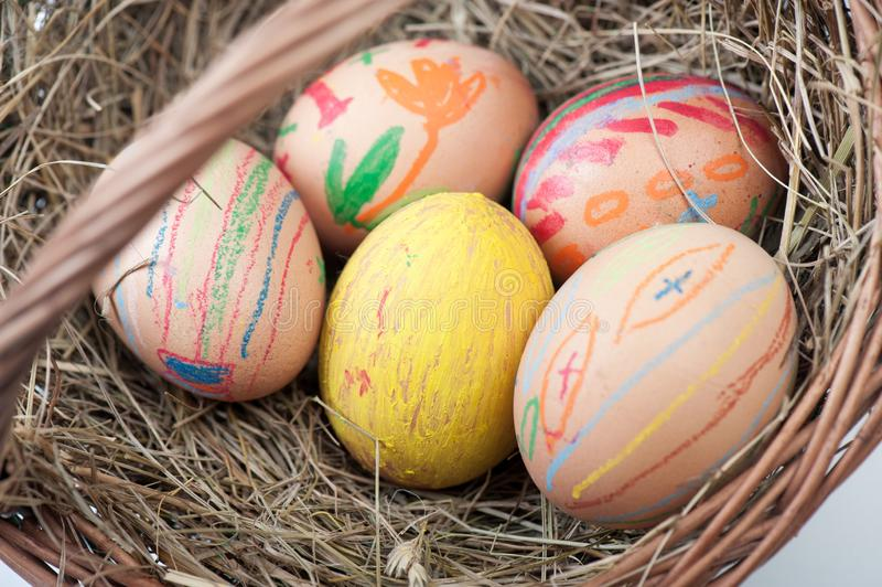 Eggs Easter on basket royalty free stock photo