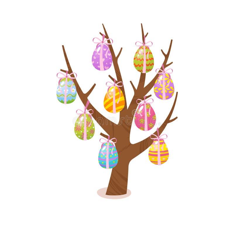Eggs el árbol Elemento tradicional de Pascua Símbolos de los días de fiesta religiosos aislados en el fondo blanco libre illustration