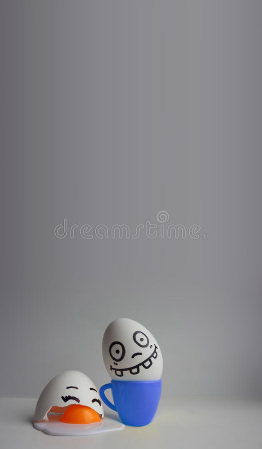 Eggs with face. Concept of murder royalty free stock photo