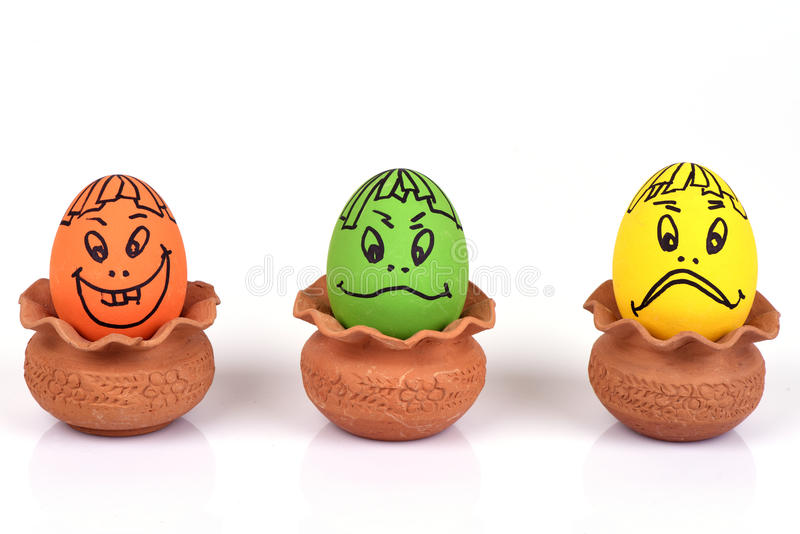 Eggs faces. stock images
