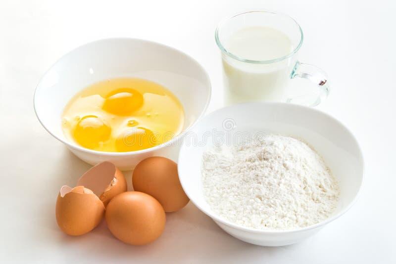 Eggs flour and milk