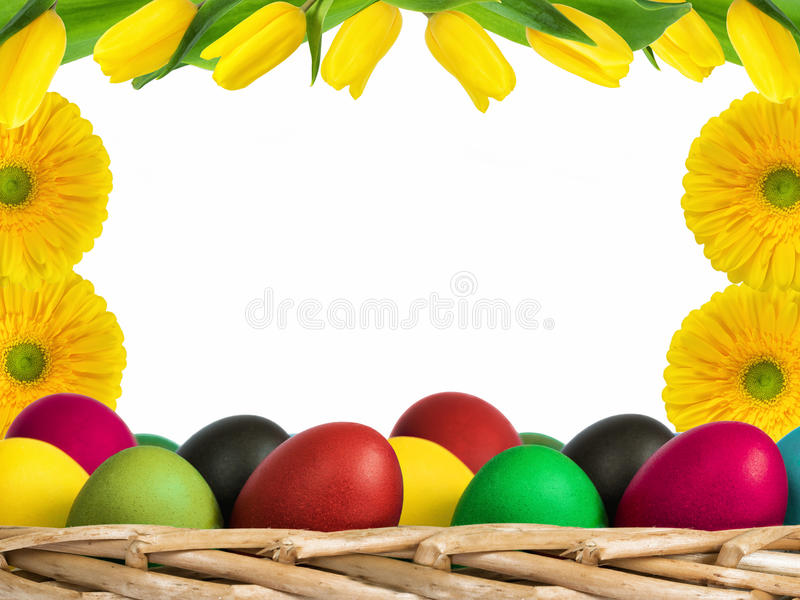 Eggs and flowers composition royalty free stock photography