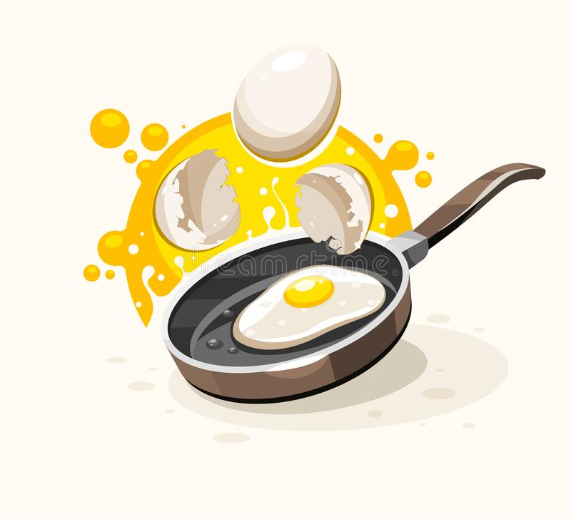 Eggs frying on the hot pan vector breakfast vector illustration