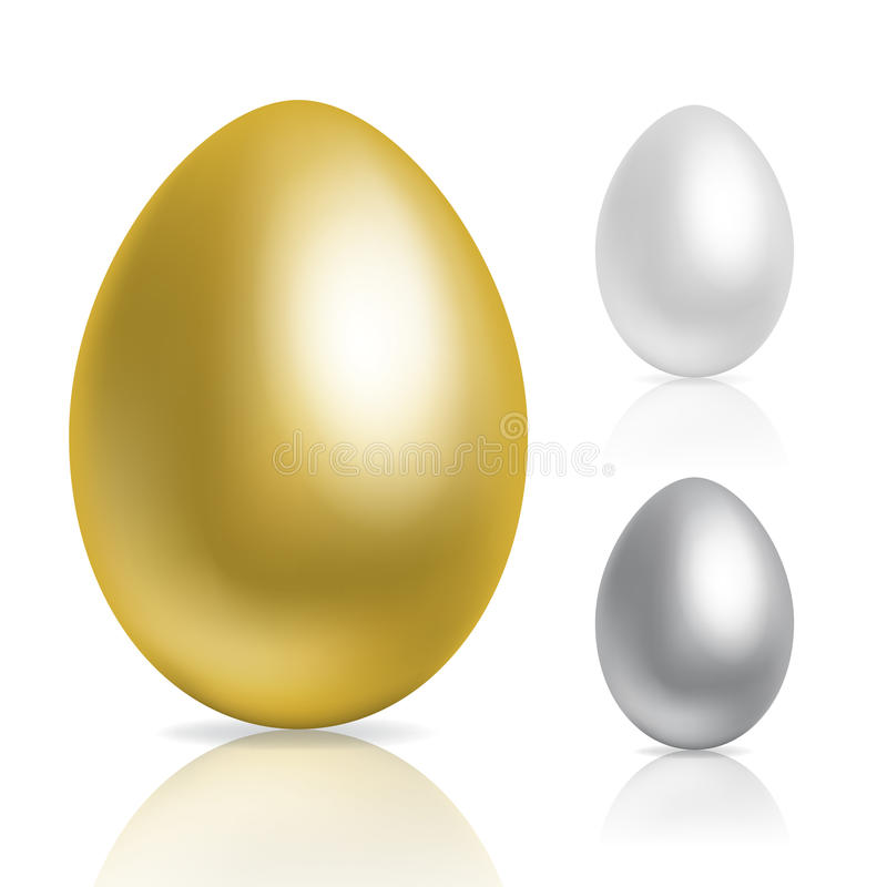 Eggs. Gold and silver eggs on white background stock illustration