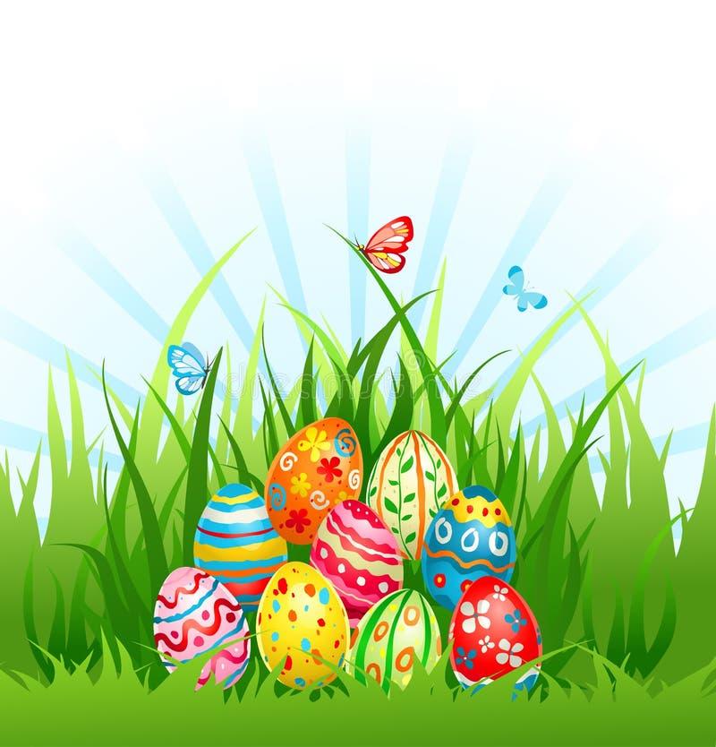 Eggs On Grass Stock Photo