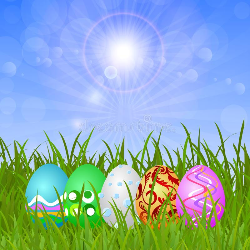 Eggs on the grass under the blue sky royalty free illustration
