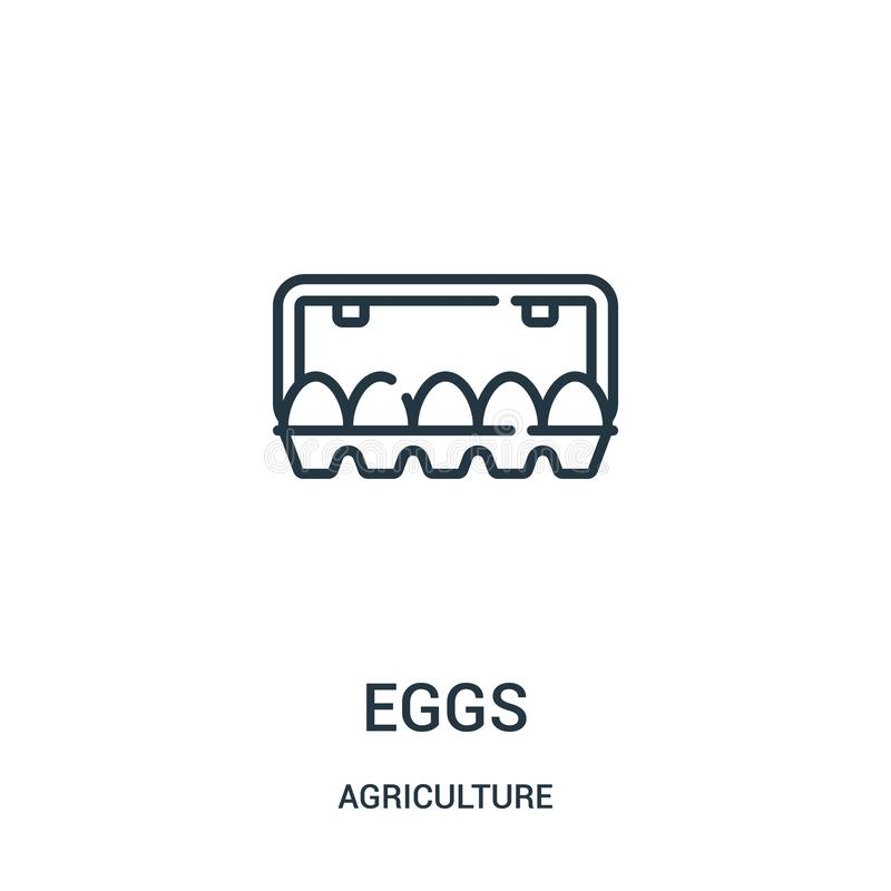 Eggs icon vector from agriculture collection. Thin line eggs outline icon vector illustration. Linear symbol for use on web and. Mobile apps, logo, print media royalty free illustration