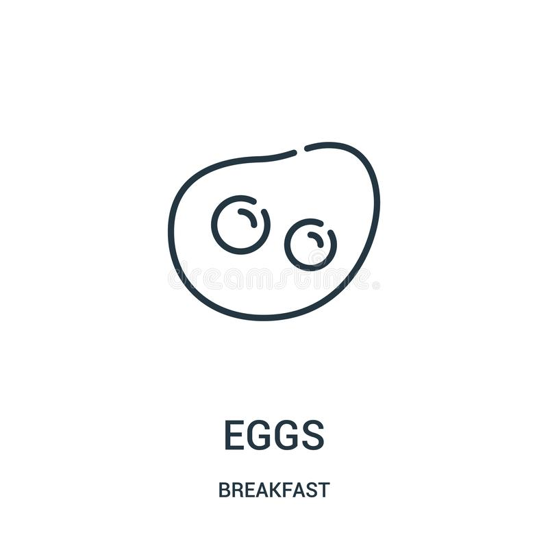 Eggs icon vector from breakfast collection. Thin line eggs outline icon vector illustration. Linear symbol for use on web and. Mobile apps, logo, print media stock illustration