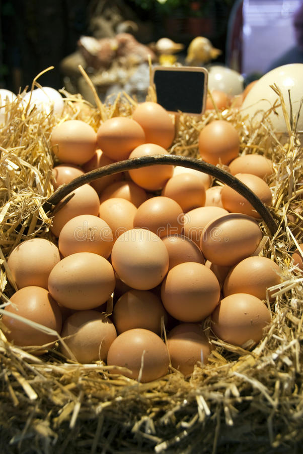 Eggs in a market. A lots of chicken eggs in a market - Barcelona - Spain royalty free stock image