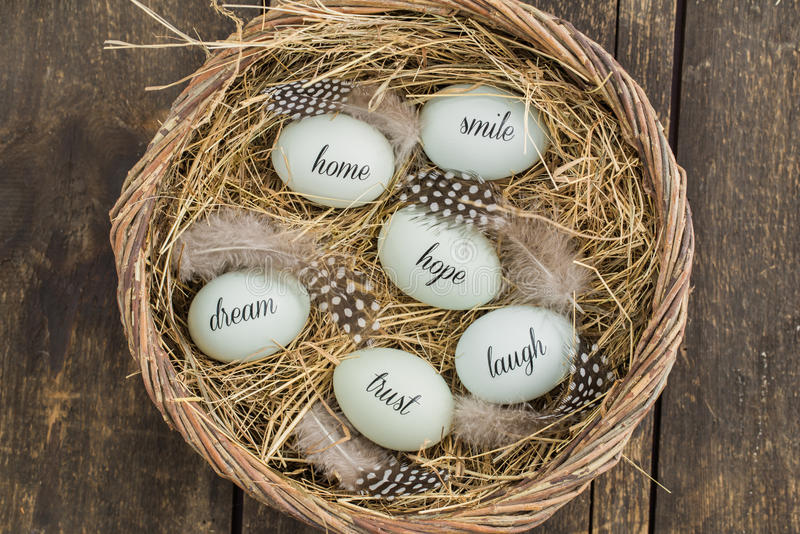 Eggs with messages royalty free stock photo