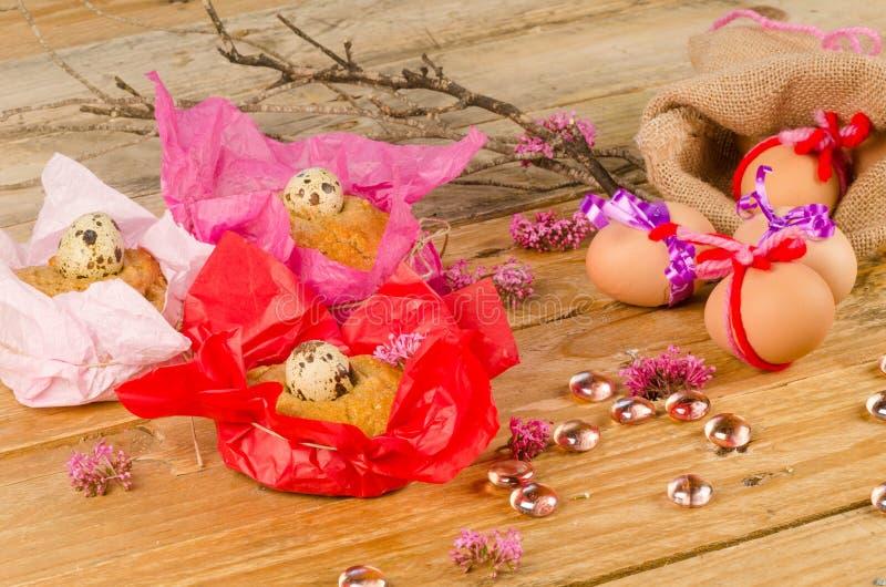 Eggs and mona de Pascua stock photos