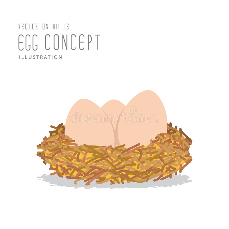 Eggs in a nest made of straw flat vector. royalty free illustration