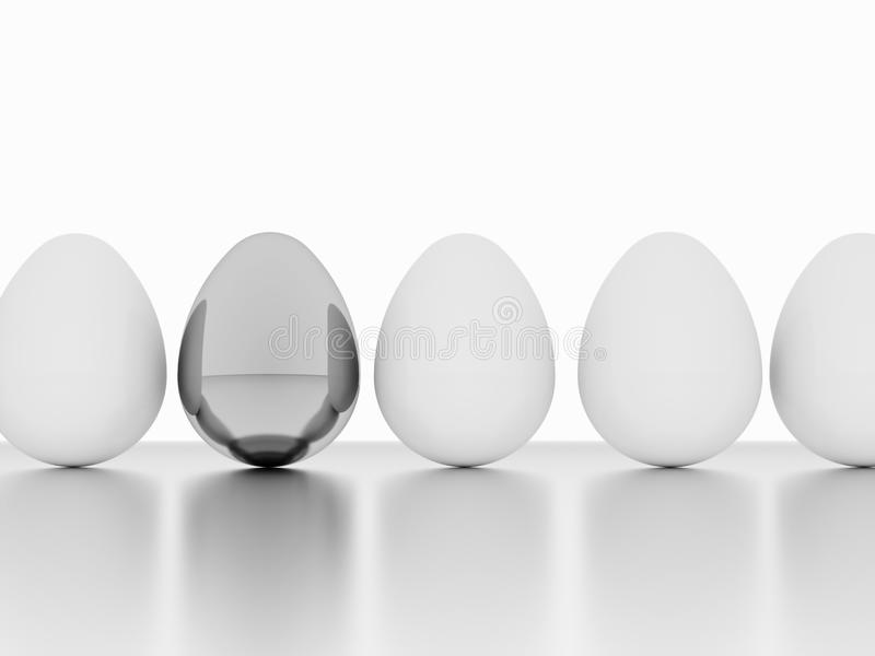 Eggs One Silver Stock Photo